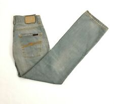 Nudie Jeans Slim Jim Iron Grey Fits 32x32 Mens Light Blue Made in Italy NJ2564