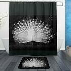 Naanle Fantastic White Peacock Tail Waterproof Polyester Fabric Shower Curtai...