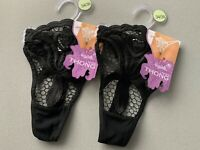 Thongs Lingerie Black 2 Pack Lacy Heart Sheer Mesh Size Uk 6-10 Eu 34-38 TH966