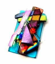 SUPER insolito Vecchio Vetro Arcobaleno Multicolore Collana Ciondolo Vintage Fuso