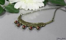 Glass Jewels Bronze Halskette Kette Collier Vintage Feder Statement Perlen #N002