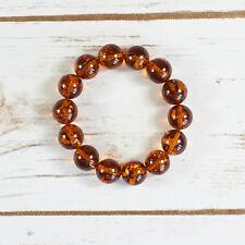 Genuine Baltic Amber Bracelet Unique Cognac Brown Balls Luxury Elegant Sphere