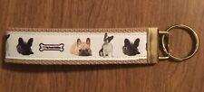 Boston Terrier Wristlet Key Fob Zipper Pull Key Chain