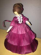 "NOS Nan's Corn Husk Cornhusk 7 1/2"" Doll Brown Hair, Wine/Burgundy Dress 1994"