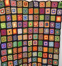 "Granny Square Afghan Stained Glass Look Colorful Quality Vintage 69""x54"""