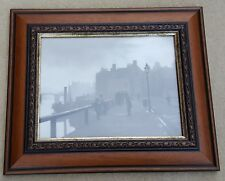 SUTCLIFFE GALLERY Picture Black White 1890's Pier Road Whitby 15 x 12 Inc Frame