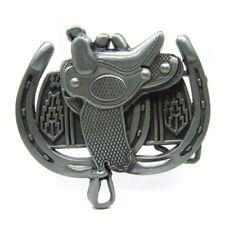 Vintage Horse Saddle Belt Buckle Horseshoe Western Cowboy Rodeo Metal Men Silver
