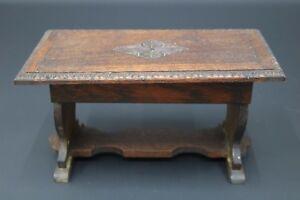 Musical Box Table Cuendet Swiss Movement Miniture Furniture Jacobean Oak Dining