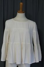 MADEWELL J CREW TIERED BUTTON-BACK TOP BLOUSE IVORY SIZE S #H3270