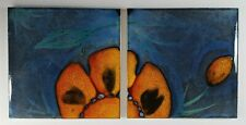 More details for colourful pair of retro h & e smith 6 inch square ceramic wall tiles