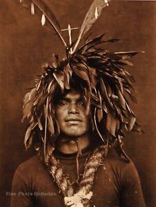 Vintage EDWARD CURTIS American Indian Cowichan Warrior GOLDTONE Photo Art 11x14