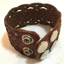 Brown Leather Braided Cuff - Adjustable Snap Closure w/ Silver Finish, Pre-Owned