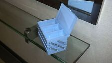 "1-Lg BOX/3-TIER Vtg NOS 1950s ""NYC USA"" BLUE-PLASTIC ""TIDY TRAYS"" SEWING/JEWELRY"