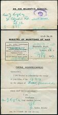 GB 1919 OFFICIAL PAID MINISTRY of MUNITIONS of WAR OHMS + HANDSTAMP to G KING