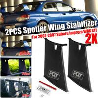 2pcs Sticker Spoiler Wing Stiffi Support Rally For Subaru Impreza WRX STi 02-07