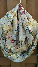 Handmade Fabric Infinity Scarf  lightweight cotton floral fabric