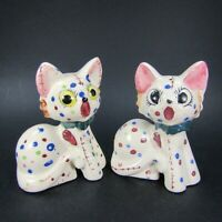 Vintage Cat Salt Pepper Shakers Painted spots Stitched Kittens Japan   INV491
