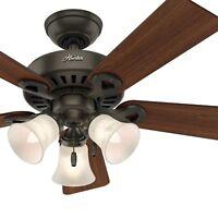 Hunter Fan 44 in New Bronze Finish Ceiling Fan w/ Light Fitter & Remote Control