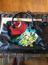 Ed Hardy Bag MY TRUE LOVE FOREVER Black Purse Satchel Handbag Large