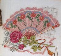 Victorian Lady's Fan Cross Stitch Pattern Chart from a magazine Elegant Roses