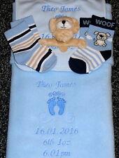 Personalised  Baby Blanket  5 Piece Gift Set Boxed Baby Feet Motif Blue Newborn
