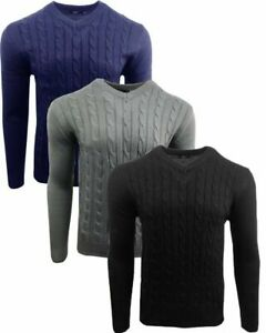 Men's Wool Texture Cable Knit Tailored Fit Jumper V Neck Smart Casual S/2XL