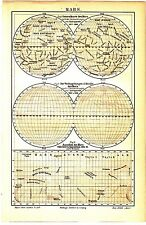 1895 MARS PLANET ASTRONOMY Antique Map