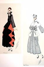 Erte Matted Print 1982 SOPHISTICATED LADIES AUTUMN DRESSES Art Deco Illustration