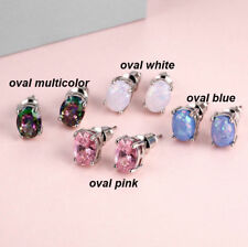 Hypoallergenic Silver Plated Round Cut White Fire Opal Stud Earrings Jewelry
