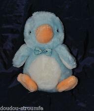 Peluche Doudou Pingouin GUND 1986 Bleu Orange Blanc 21 Cm TTBE