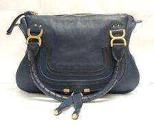 Chloe Marcie Large Suede & Smooth Calf Skin Handbag Vinyl Blue - FREE SHIPPING