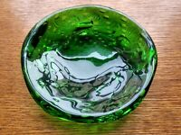 Vintage Italian Murano Art Glass Rare Green Controlled Bubbles Candy Bowl Dish