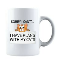 Sorry I Can t I have Plans With My Cat Funny Ceramic Coffee Mug Tea Cup