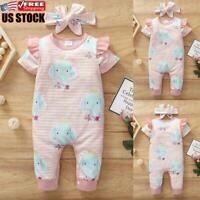 Newborn Baby Girl Summer Casual Romper Striped Printed Bodysuit Jumpsuit Outfits