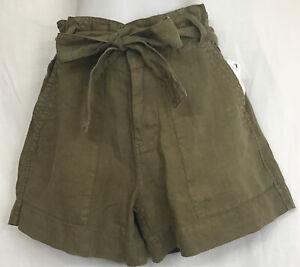 Joie Shorts Vintage Olive Dayanna Paper Sack High Waist Tie Belt Nwt Size 2