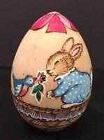 """VTG Wood Easter Egg 2-1/2"""" Burnt Tempera Easter Bunnies In Basket Signed"""