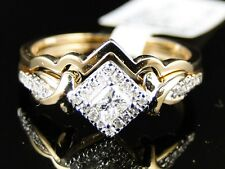 Yellow Gold Ladies Princess Cut Diamond Wedding Engagement Bridal Band Ring Set
