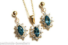 9ct Gold London Blue Topaz Cluster Pendant and Earring Set Made in UK Gift Boxed