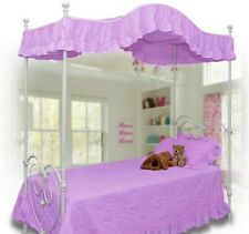 Twin Size PURPLE Lavender Ruffled canopy bed cover top Topper WOW!