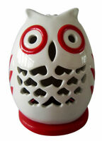 CUTE Red & White Ceramic Owl T-Light Candle Holder - NEW BARGAIN PRICE