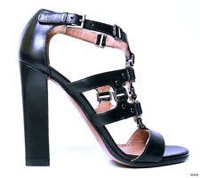 new $1675 ALAIA black open-toe Tstrap STUDDED gladiator heels shoes 37.5 7.5 HOT