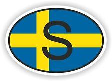 S SUEDE Autocollant OVAL avec drapeau suedois Voiture Caravane Pare-choc casque
