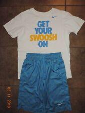 Nike Boy White Tshirt Blue & Yellow Basketball Shorts sz m/L