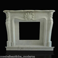Camino Marmo Bianco Carrara Stile Luigi XV Classic Stone White Marble Fireplace