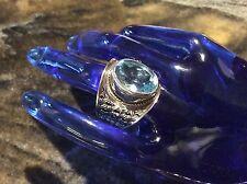 Vintage Samuel Benham BJC Blue Topaz Ring Woven Byzantine 925 Sterling Silver