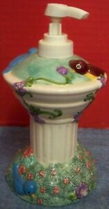 "Ceramic Birdbath Soap Lotion Dispenser 7"" Tall Clean Kitchen Bath Looks Unused"