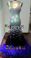 Feather Smooth Ballroom Waltz Tango Standard Dance Dress US 10 UK 12 Swarovski