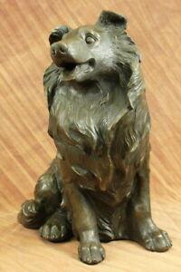 Hand Made by Lost wax Method Lassie Animal Dog Collie Bronze Sculpture Decorativ