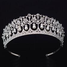 Vintage Hochzeit Braut Diadem Tiara Perlen Krone Diana Strass Haarband Haarreife