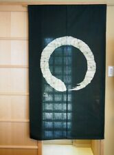 Kyoto Enso Noren Door curtain Roketsu dye Batik Dark Green Japan 85 x 150 cm